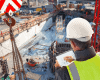 Construction worker overseeing site